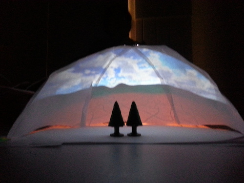 Mini paper prototype with projection.
