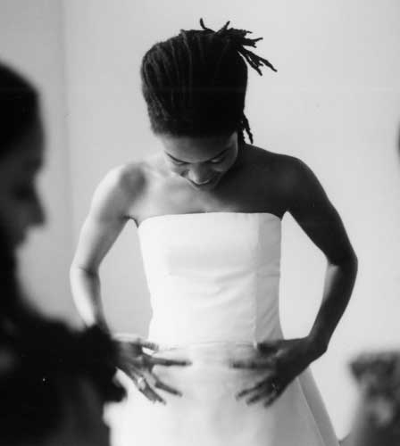 Boned and corseted sleeveless wedding dress that I designed and constructed in 2005.